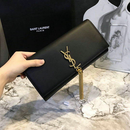2017 New Saint Laurent Bag Sale-YSL Tassel Clutch in Black Calf Leather