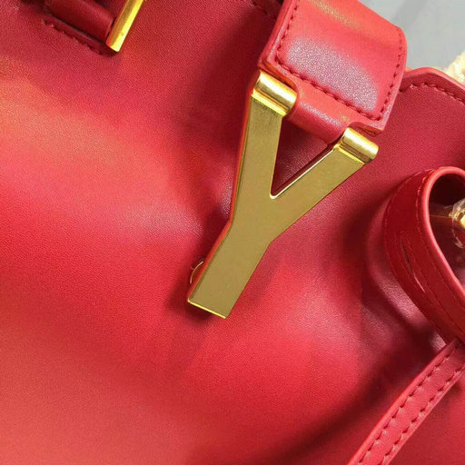 F/W 2015 New Saint Laurent Bag Cheap Sale-Saint Laurent Small Monogram Petit Cabas Y in Red Leather