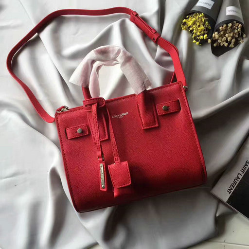 YSL F/W 2017 Collection-Saint Laurent Classic Nano Sac De Jour in Red Soft Grain Leather