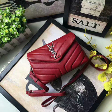 "2017 Saint Laurent Toy Loulou Strap Bag in Dark Red ""Y"" Matelasse Leather"
