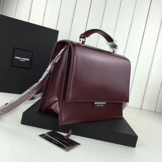 YSL A/W 2017 Collection-Saint Laurent Medium Babylone Top Handle Bag in Burgundy Leather - Click Image to Close