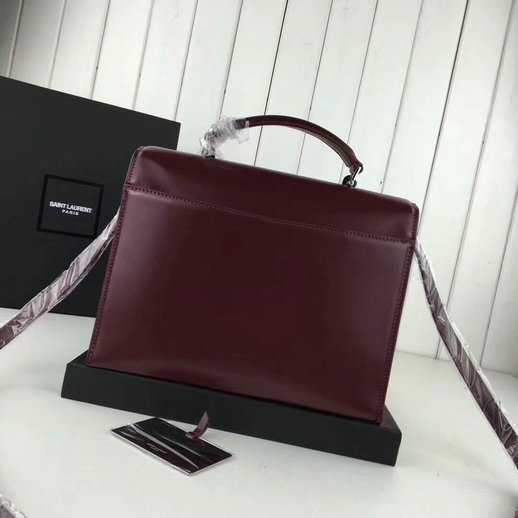 YSL A/W 2017 Collection-Saint Laurent Medium Babylone Top Handle Bag in Burgundy Leather
