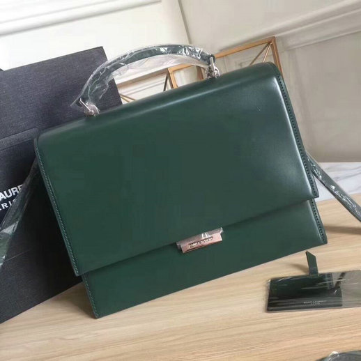 YSL A/W 2017 Collection-Saint Laurent Medium Babylone Top Handle Bag in Green Leather