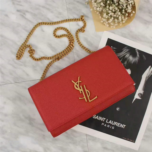 YSL 2017 Collection-Saint Laurent Medium Deconstructed Monogramme Kate Bag in Red