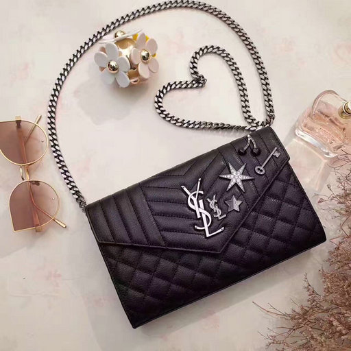 YSL 2017 Collection-Saint Laurent Monogram Charms Chain Wallet in Black