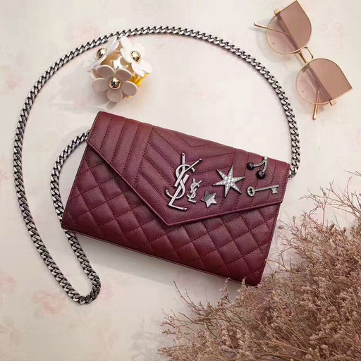 YSL 2017 Collection-Saint Laurent Monogram Charms Chain Wallet in Burgundy