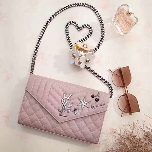 YSL 2017 Collection-Saint Laurent Monogram Charms Chain Wallet in Light Pink