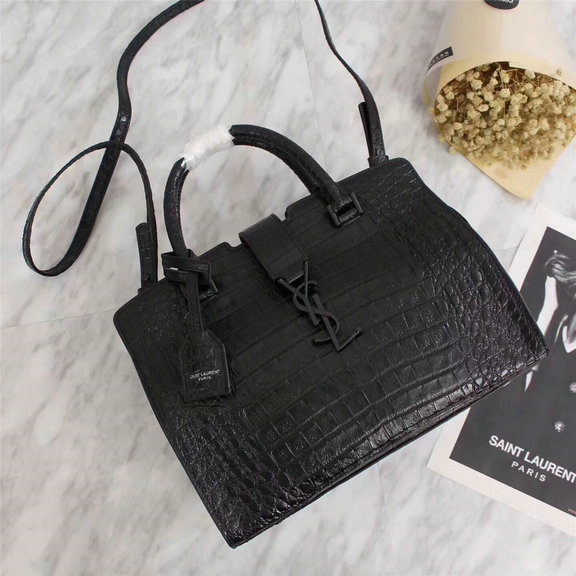 2017 F/W Saint Laurent Small Cabas Bag in Black Crocodile Embossed Leather
