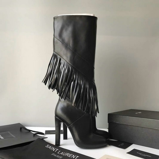 2017 New Saint Laurent 105 Fringed Knee-High Boot in Black Leather