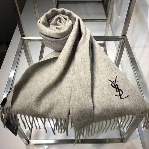 2017 Unisex Saint Laurent Fringed Scarf in Cashmere