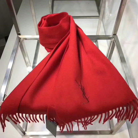 2017 Unisex Saint Laurent Fringed Scarf in Red Cashmere
