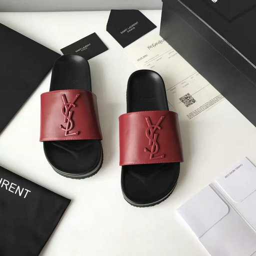 YSL Summer 2017 Collection-Saint Laurent Joan 05 Slide Sandal in Dark Red Leather