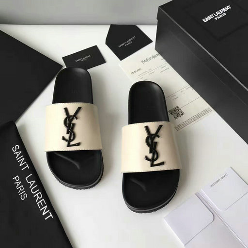 YSL Summer 2017 Collection-Saint Laurent Joan 05 Slide Sandal in Off-white Leather