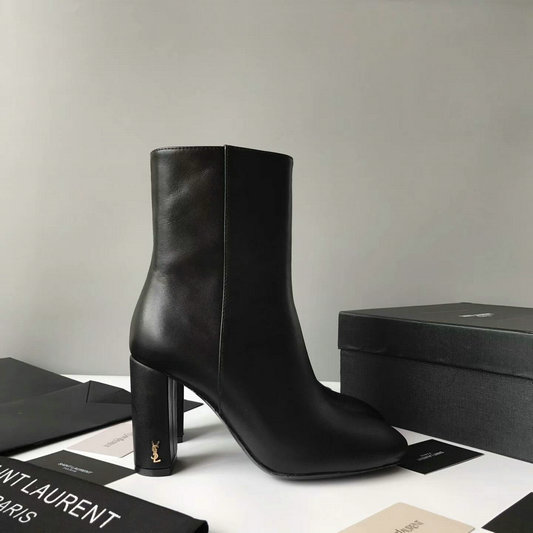 2017 New Saint Laurent LOULOU 95 Zipped Ankle Bootie with YSL signature on covered heel