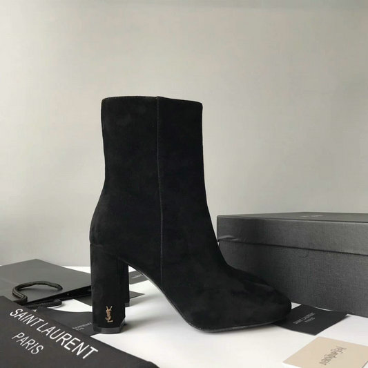 2017 New Saint Laurent LOULOU 95 Zipped Ankle Bootie in Black Suede Leather