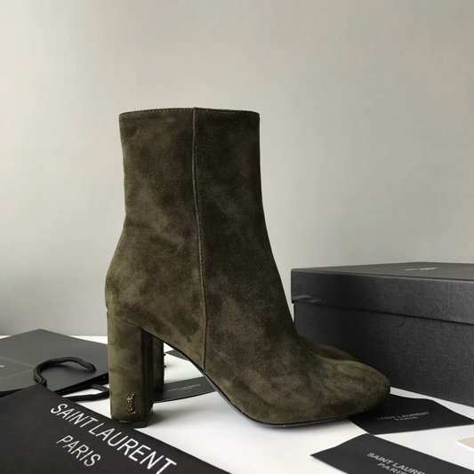 2017 New Saint Laurent LOULOU 95 Zipped Ankle Bootie in Green Suede Leather