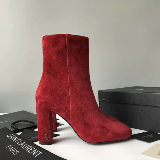 2017 New Saint Laurent LOULOU 95 Zipped Ankle Bootie in Red Suede Leather