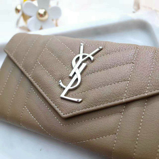 2017 S/S Saint Laurent Large Monogram Flap Wallet in Mixed Matelasse Leather