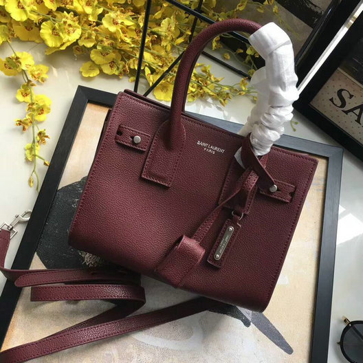 YSL Spring/Summer 2017-Saint Laurent Nano Sac De Jour Souple Bag in Burgundy Grained Leather