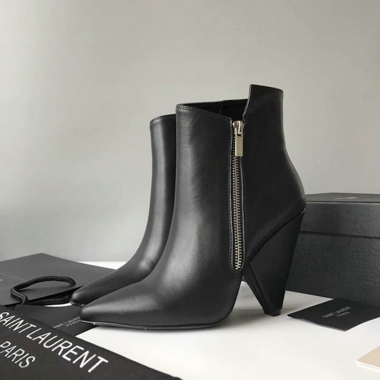 2017 New Saint Laurent Niki Asymmetrical Ankle Boot in Black Leather