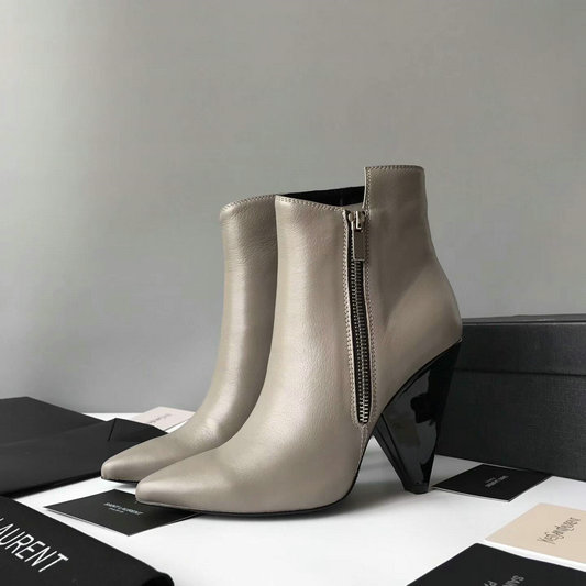 2017 New Saint Laurent Niki Asymmetrical Ankle Boot in Grey Leather