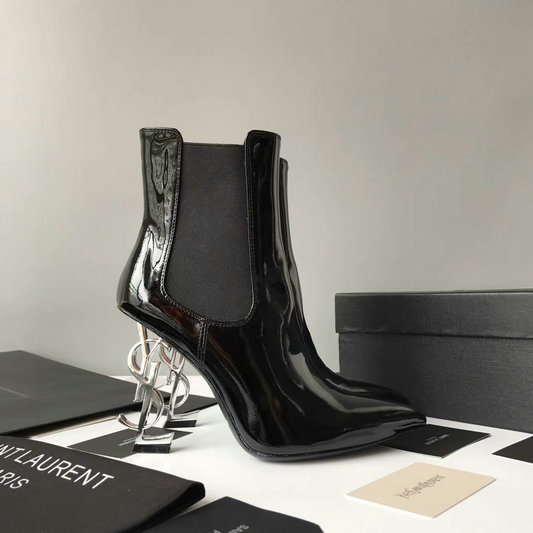 2017 New Saint Laurent Opyum 110 Ankle Boot Black Patent Leather and silver-toned Metal