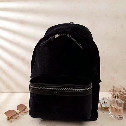 2017 F/W Saint Laurent City Backpack in Black Velvet and Leather