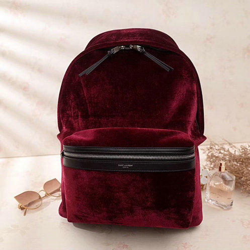 2017 F/W Saint Laurent City Backpack in Dark Red Velvet and Leather