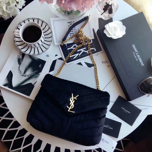 "YSL Fall/Winter 2017 F/W Saint Laurent Small Loulou Chain Bag in ""Y"" Velvet and Leather"