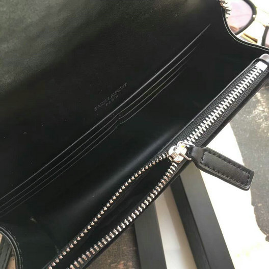 2017 F/W Saint Laurent Kate Chain and Tassel Wallet in Black Velvet and Crystals
