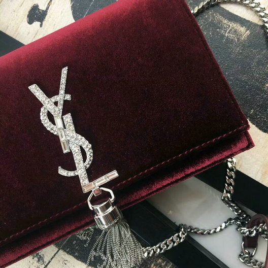 2017 F/W Saint Laurent Kate Chain and Tassel Wallet in Bordeaux Velvet and Crystals