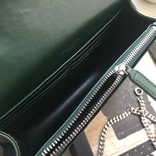 2017 F/W Saint Laurent Kate Chain and Tassel Wallet in Dark Green Velvet and Crystals