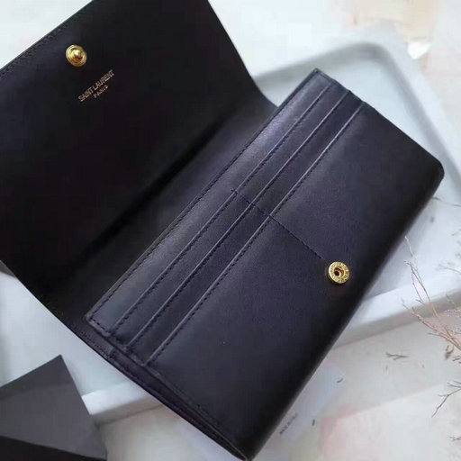 2017 New Saint Laurent Leather Wallet in Black