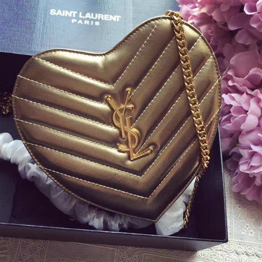 2016 Original Saint Laurent Small Love Heart Chain Bag in Gold Matelasse Leather
