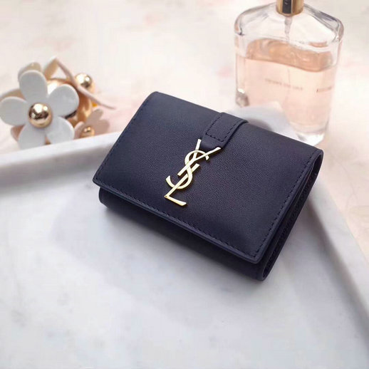 2018 S/S Saint Laurent 6 Key Holder in Dark Blue Calfskin Leather