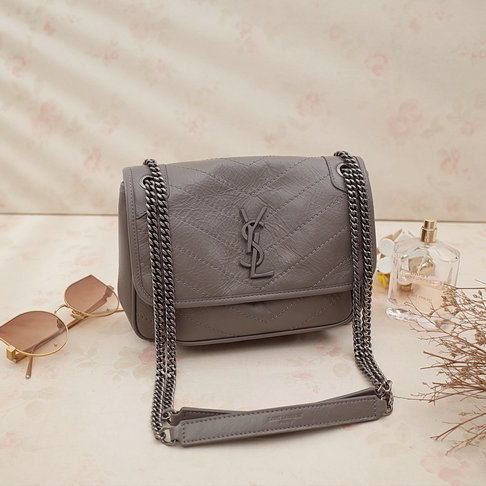 2018 S/S Saint Laurent Baby Niki Chain Bag in Grey Crinkled and Quilted Leather