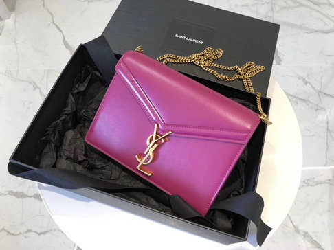 2019 Saint Laurent Cassandra Monogram Clasp Bag in Fuchsia Leather
