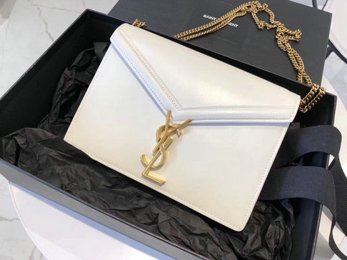 2019 Saint Laurent Cassandra Monogram Clasp Bag in Blanc Vintage Leather