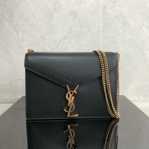 b21272ebf079 2018 Saint Laurent Cassandra Monogram Clasp Bag in Black Smooth Leather