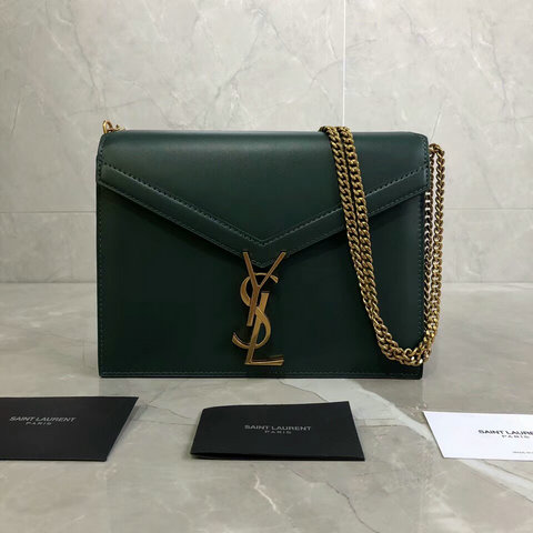 2018 Saint Laurent Cassandra Monogram Clasp Bag in Green Smooth Leather