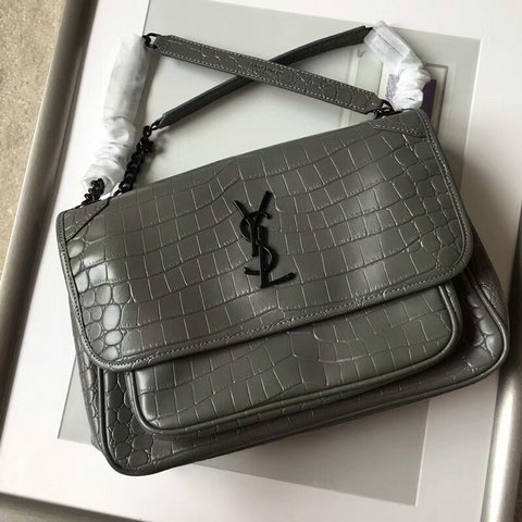 2018 S/S Saint Laurent Medium Niki Chain Bag in Grey Crocodile Embossed Leather