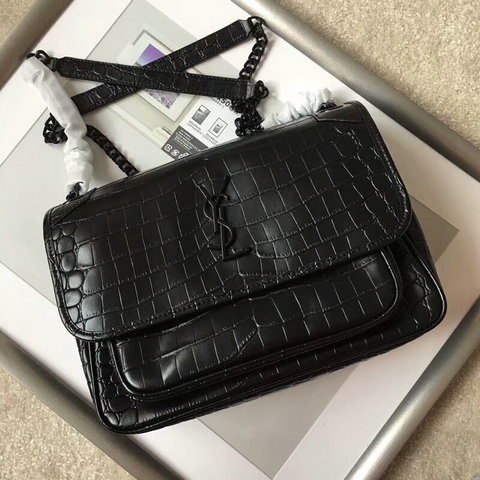 2018 S/S Saint Laurent Medium Niki Chain Bag in Black Crocodile Embossed Leather