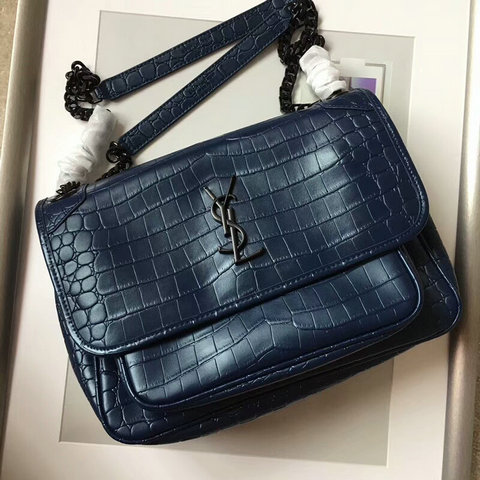 2018 S/S Saint Laurent Medium Niki Chain Bag in Dark Blue Crocodile Embossed Leather
