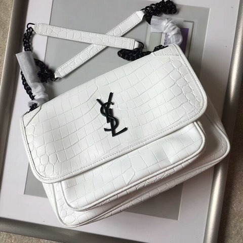 2018 S/S Saint Laurent Medium Niki Chain Bag in White Crocodile Embossed Leather