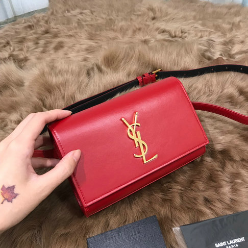 2018 Saint Laurent Kate Belt Bag in Red Smooth Leather