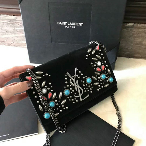 Saint Laurent Monogram Kate Berber Chain Bag in Black Suede with Multicolored Beads