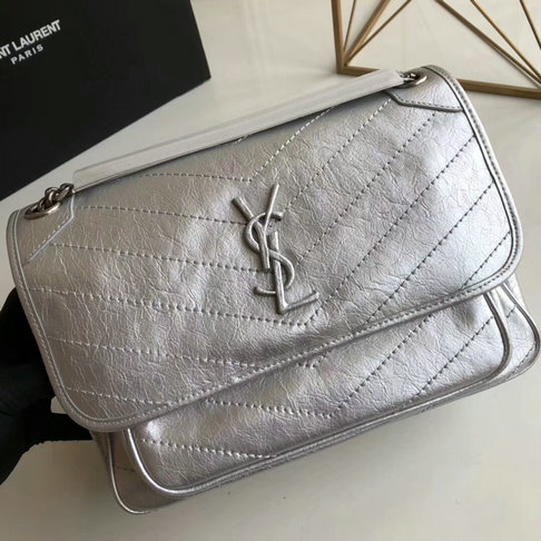 2018 S/S Saint Laurent Medium Niki Chain Bag in vintage crinkled and quilted silver leather
