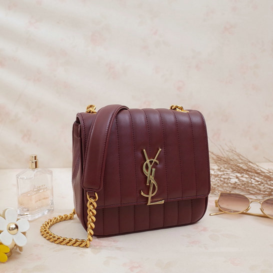2018 S/S Saint Laurent Small Vicky Bag in Burgundy Leather