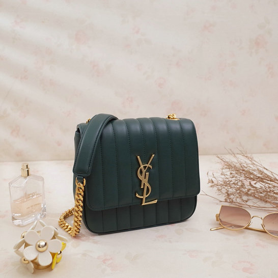 2018 S/S Saint Laurent Small Vicky Bag in Dark Green Leather