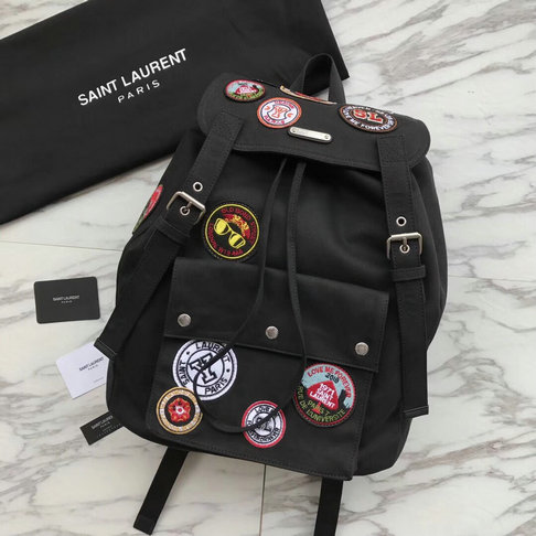 2018 Saint Laurent Noe Patchwork Canvas Backpack in Black